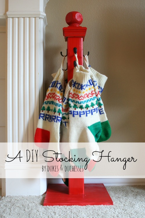 a DIY stocking hanger