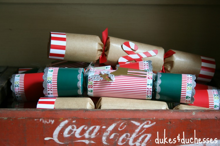 christmas crackers in coke crate