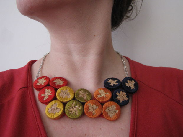 cork embroidered necklace