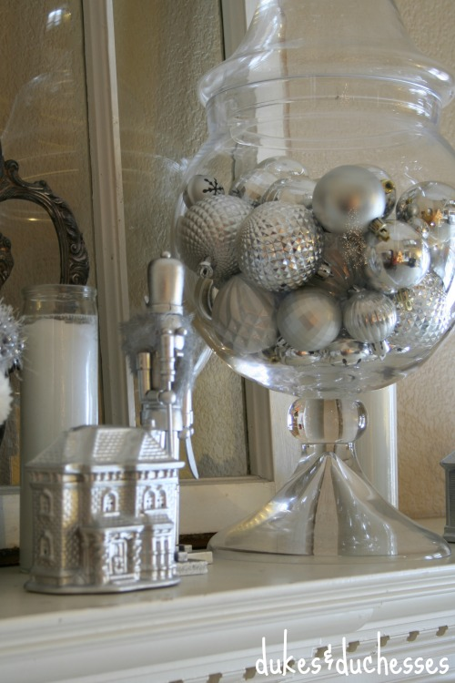 silver mantel decor