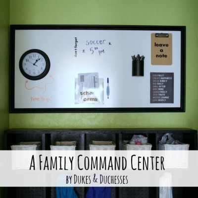 A Family Command Center {with a DIY Dry Erase Board}
