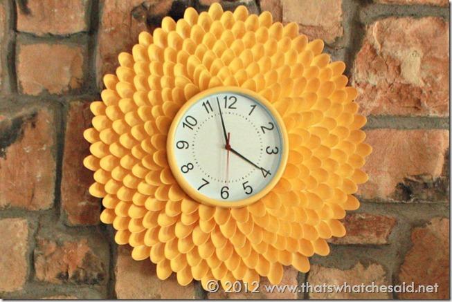 clock plastic spoons