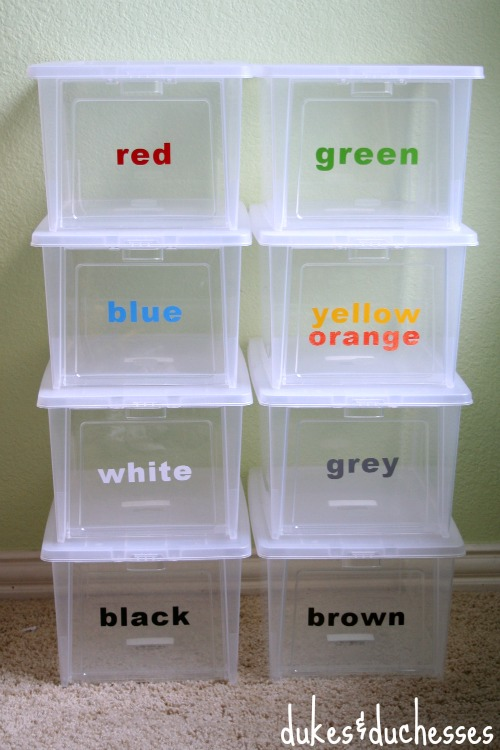 color coded lego organization system