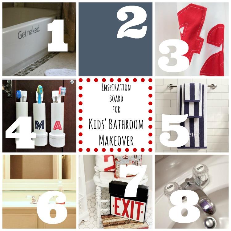 inspiration board for kids' bathroom makeover