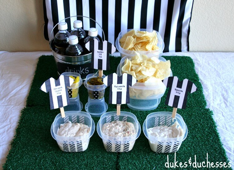 referee-themed chip and dip station