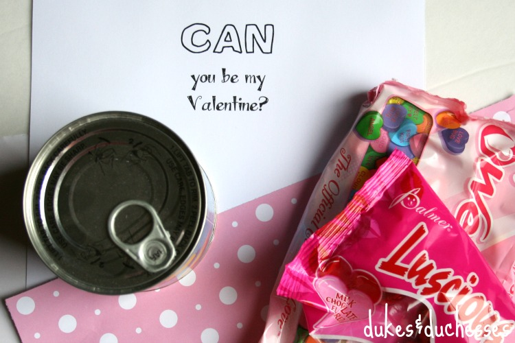 supplies for valentine in a can