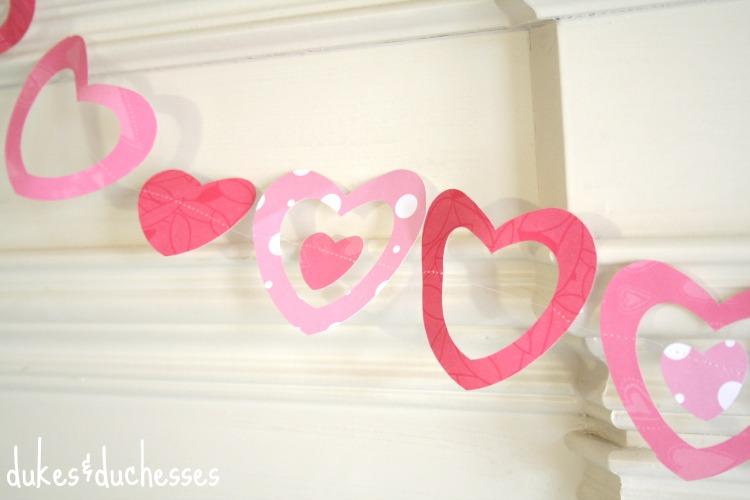 valentine's day stitched garland