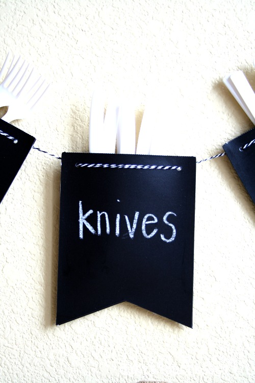 chalkboard paper garland for cutlery