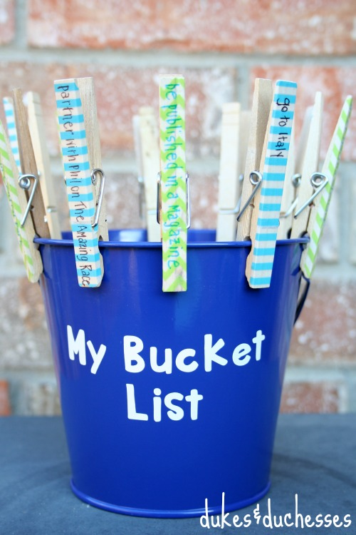 clothespin bucket list