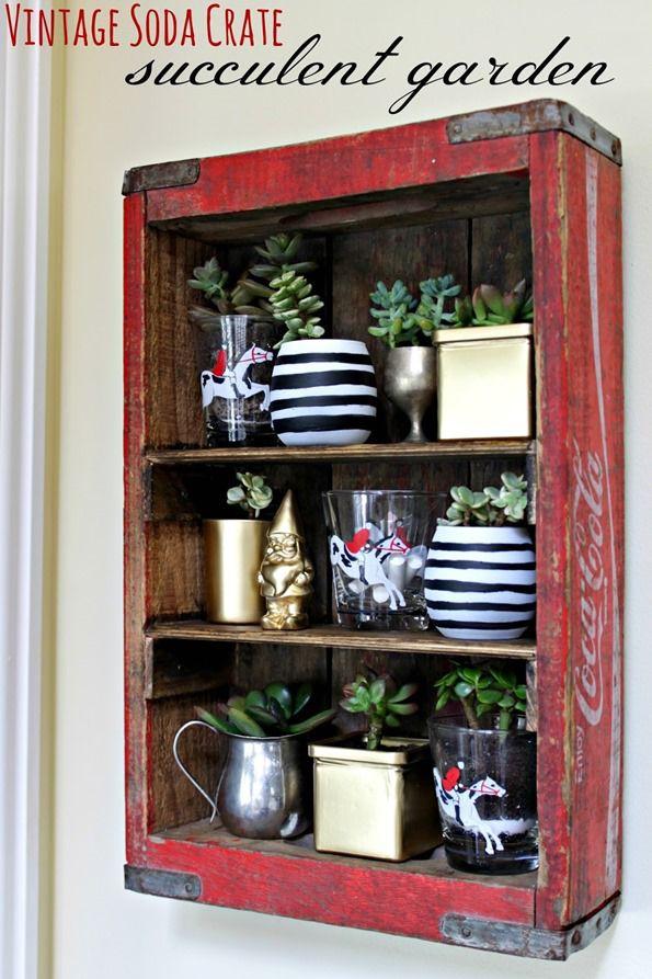 crate as succulent garden shelf