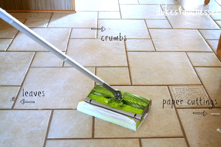 cleaning floors with the swiffer sweep & trap - dukes and duchesses