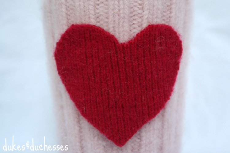 felted heart on coffee cuff