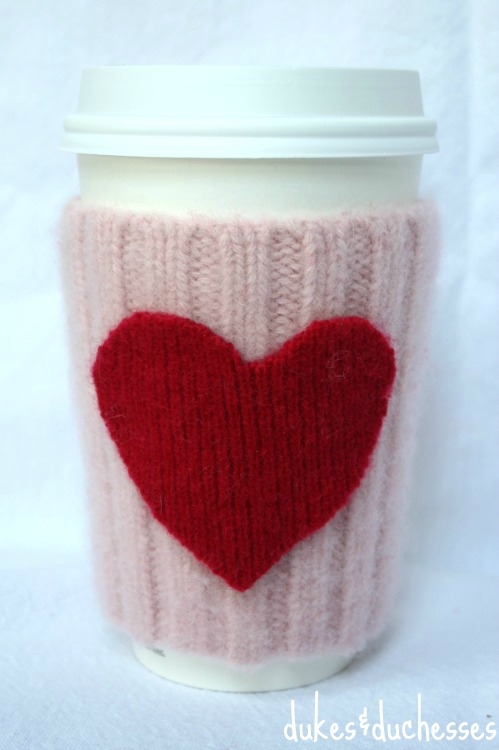 felted valentine coffee cuff
