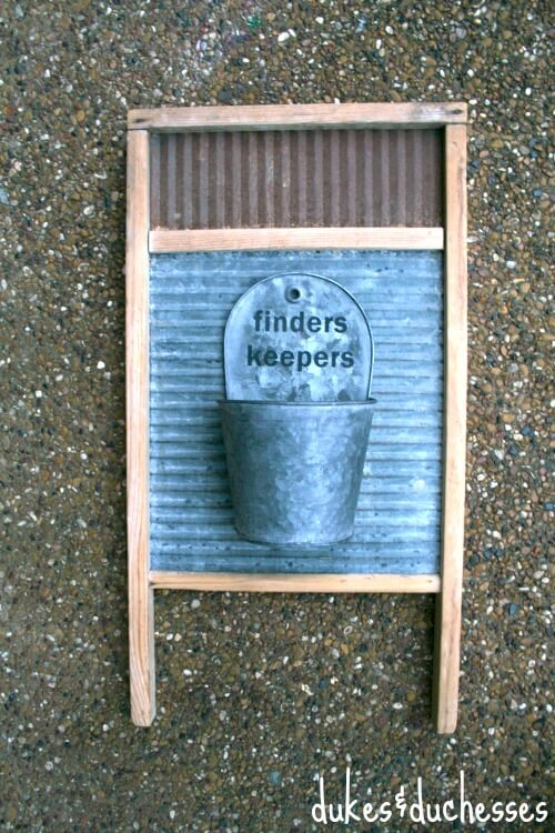 washboard with galvanized bucket