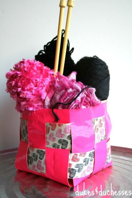 woven basket made with duck tape