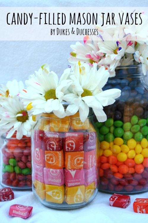 Candy filled mason jar vases dukes and duchesses
