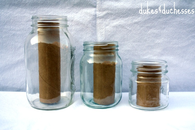 jars with cardboard tube fillers