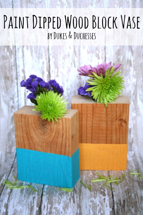 paint dipped wood block vases