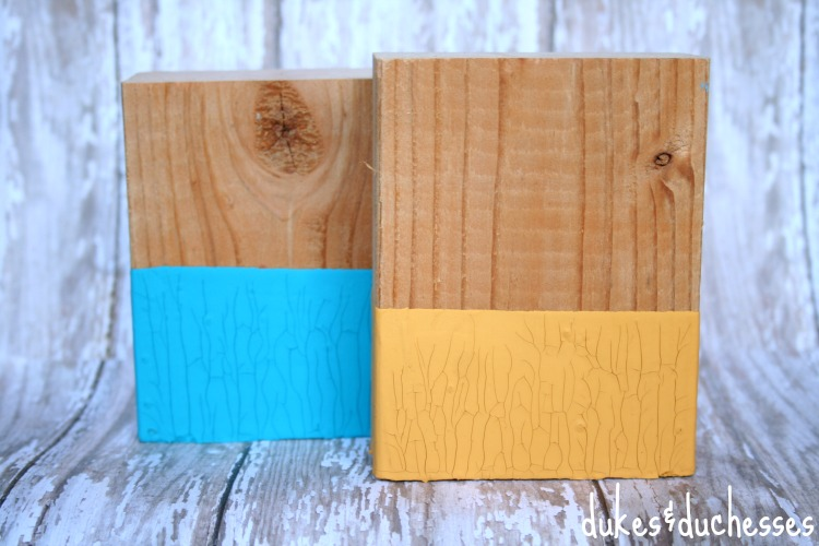 paint dipped wood blocks