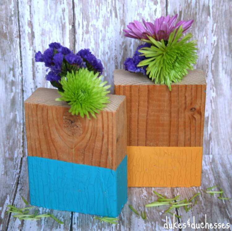 vases made from wood blocks