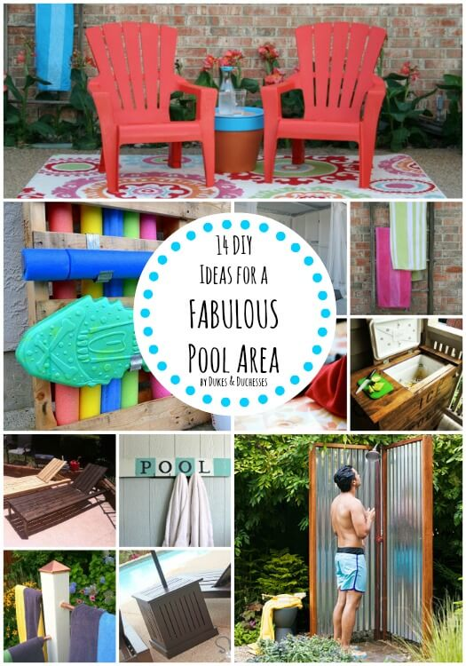 14 diy ideas for a fabulous pool area dukes and duchesses for Above ground pool storage ideas