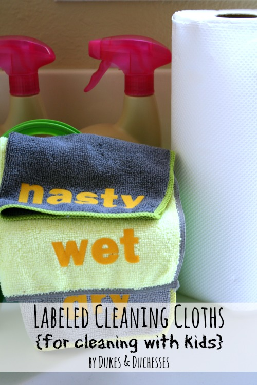 labeled cleaning cloths