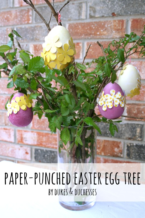 paper punched easter egg tree