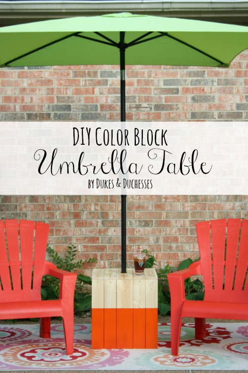 DIY color block umbrella table