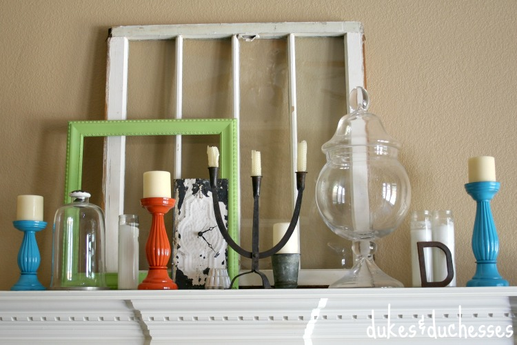 colorful candlesticks on the mantel