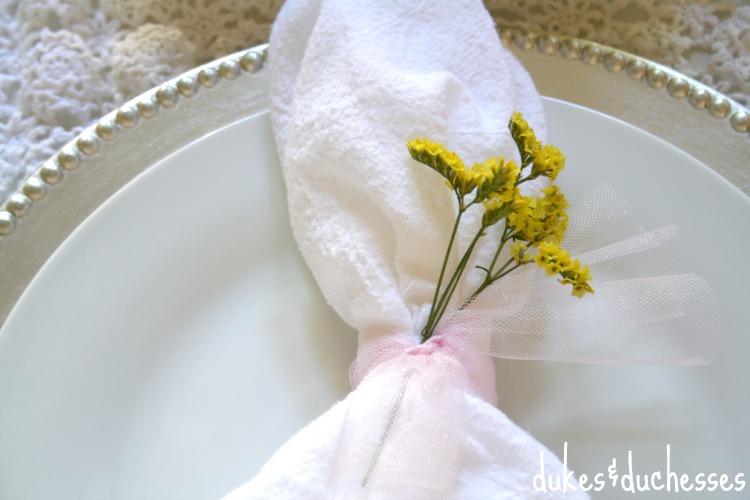 floral sprig in napkin