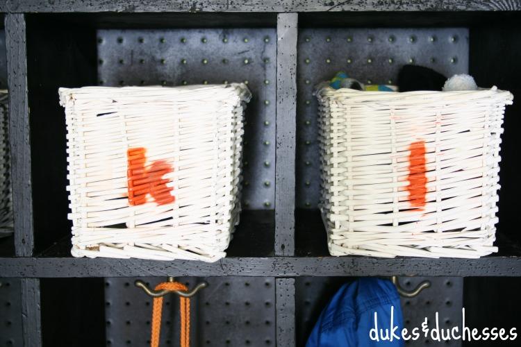 stenciled baskets
