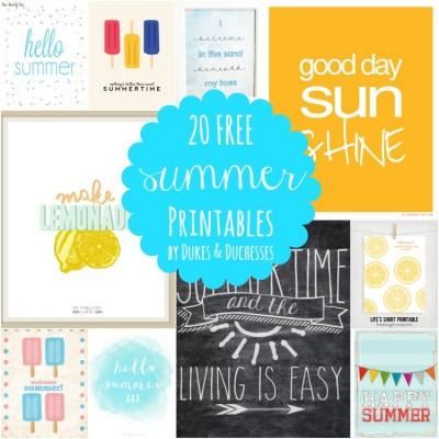 20 Free Summer Printables