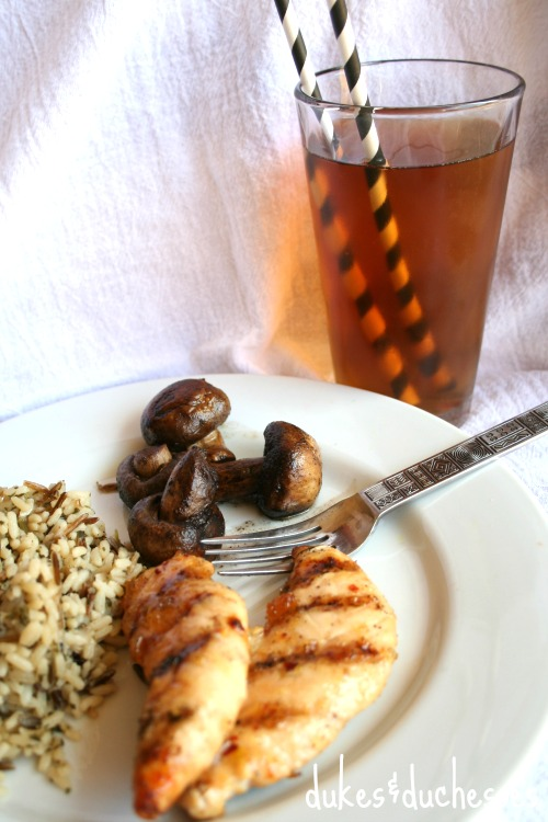 chicken with brewed iced tea