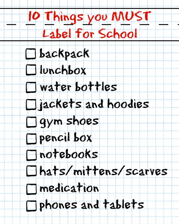 10 things you must label for school