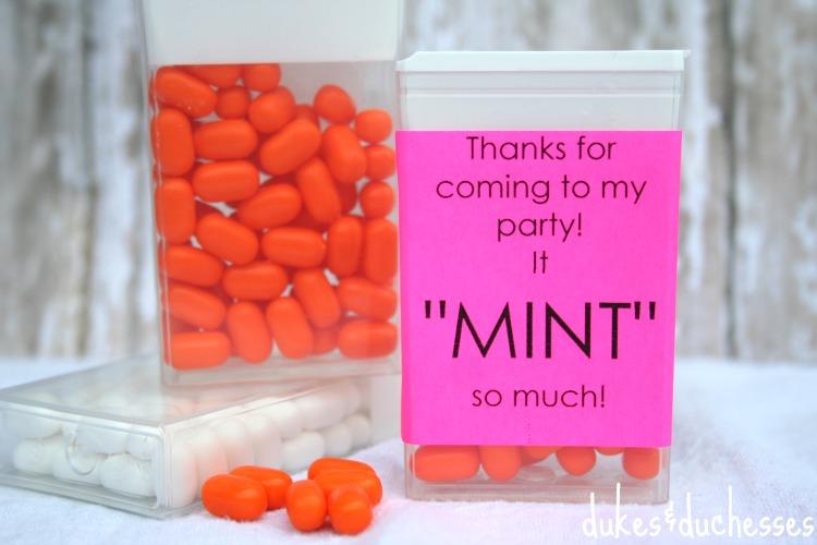 mint labels for party favors