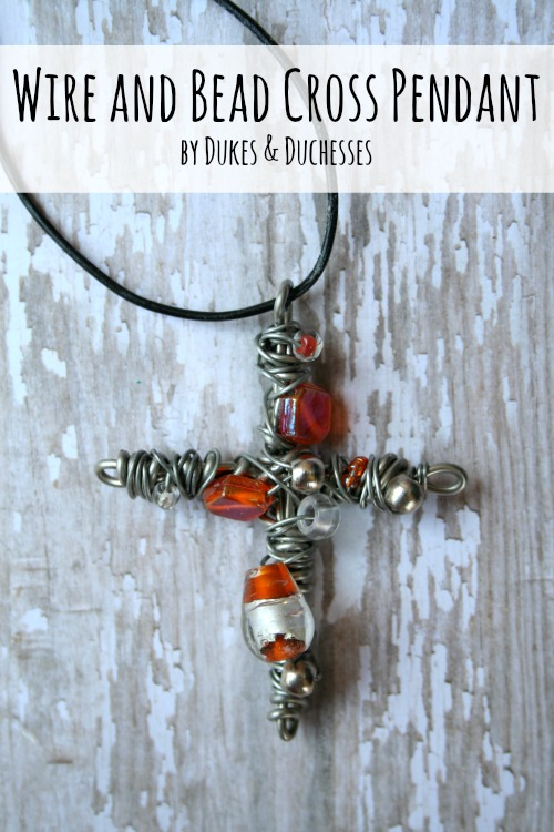 wire and bead cross pendant