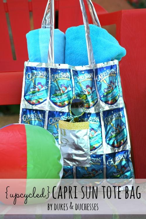 upcycled capri sun tote bag