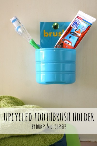 upcycled toothbrush holder