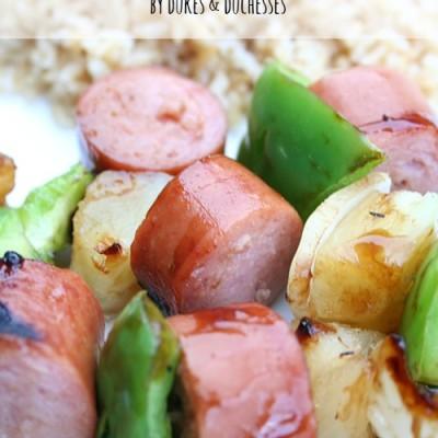 Grilled Teriyaki Sausage Kebabs