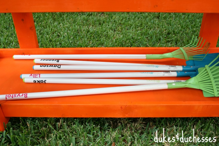 personalized rakes and shovels