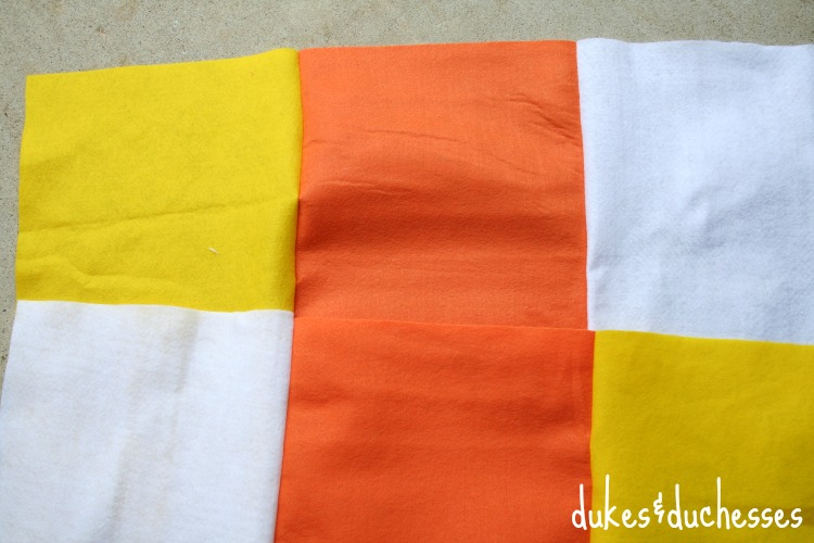 strips sewn for candy corn costume