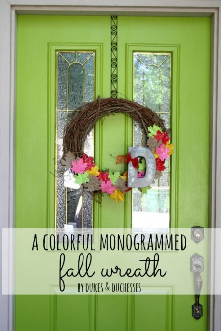 a colorful monogrammed fall wreath