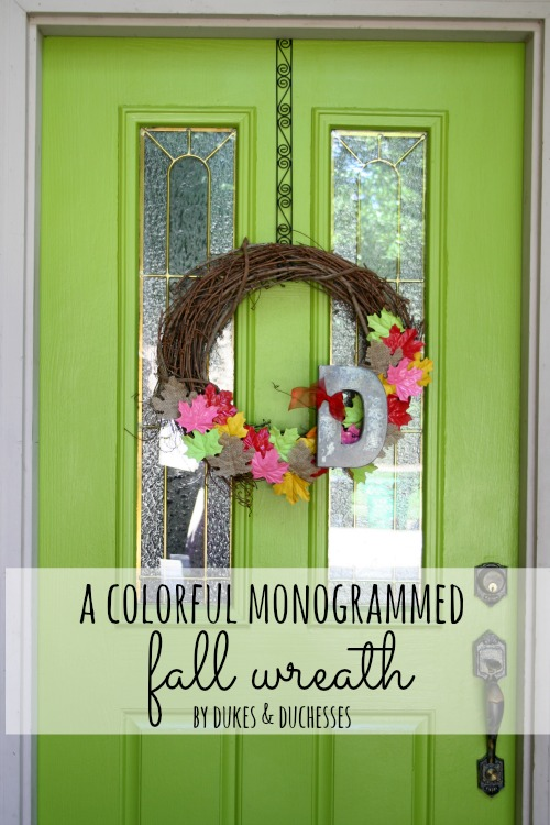 colorful monogrammed fall wreath