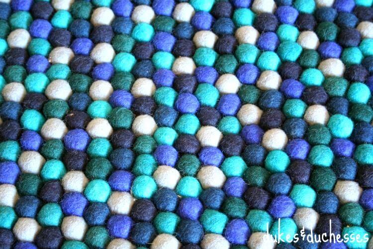 blue felt ball rug