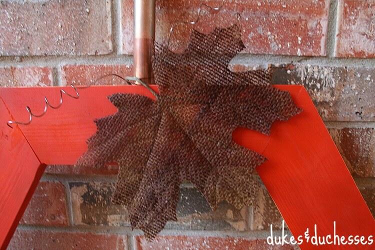 burlap leaf on hexagon pumpkin