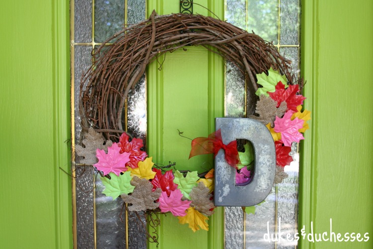 colorful fall wreath on door