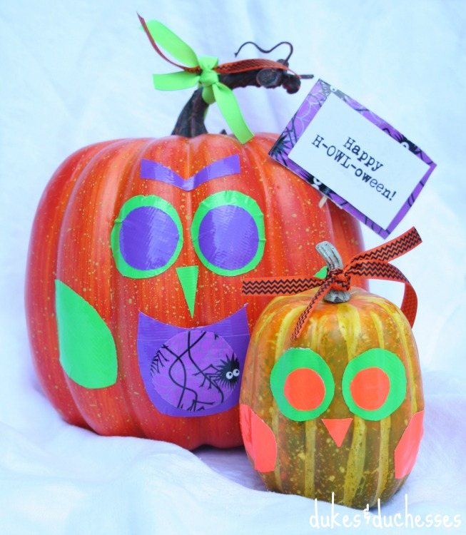 duck-tape-owl-pumpkins
