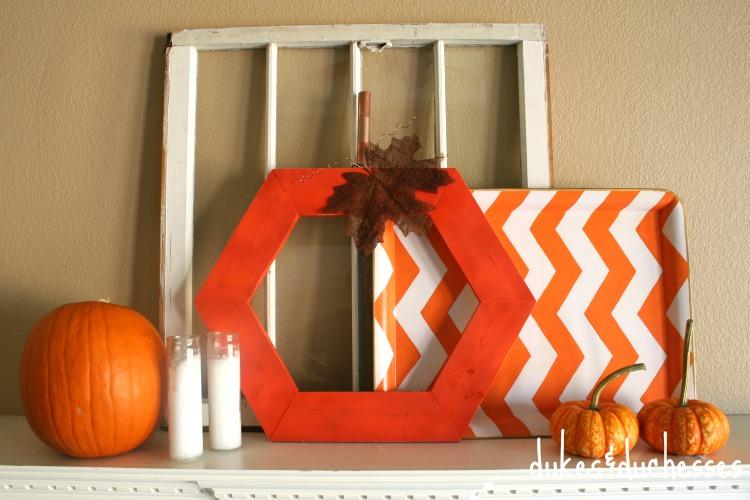 fall mantel with hexagon pumpkin