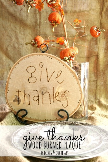 give thanks wood burned plaque