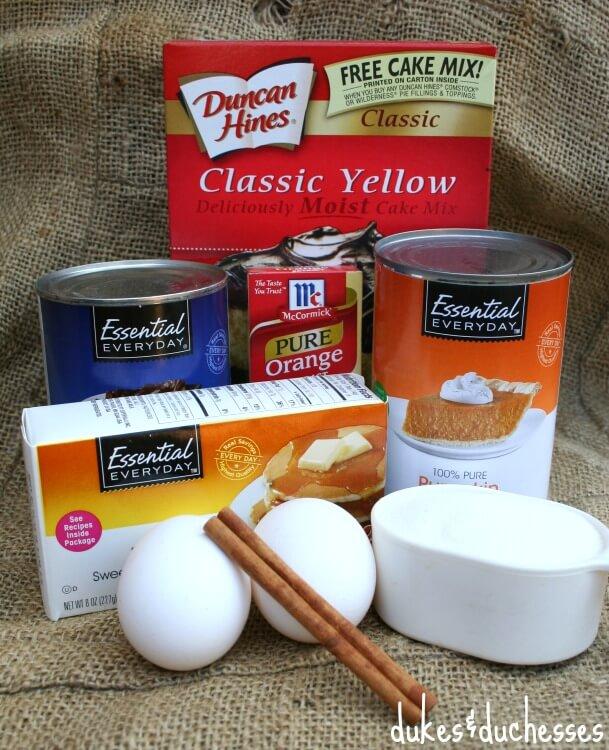 ingredients for pumpkin cobbler